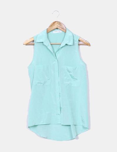 Blusa satén verde mint Suiteblanco