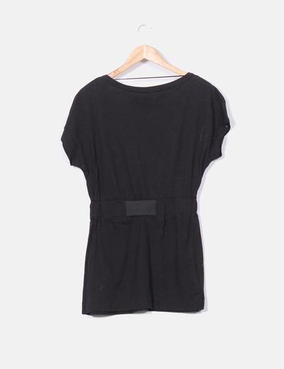 Vestido negro cintura elastica con lentejuelas glitter