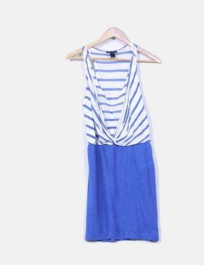 Vestido azul y blanco Mango