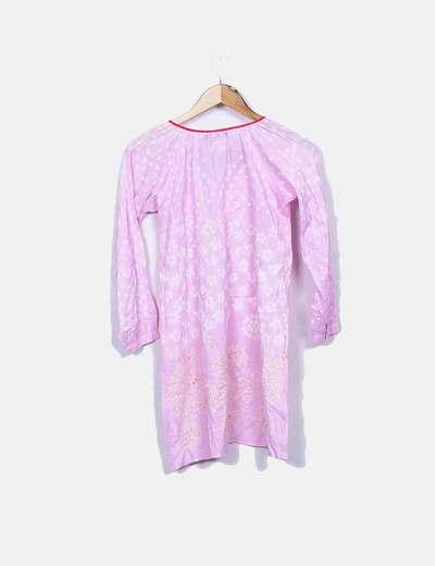Vestido midi rosa estampado