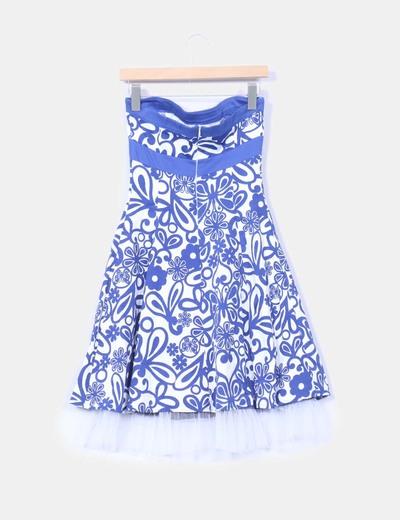 Vestido Años 60 Blanco Y Azul