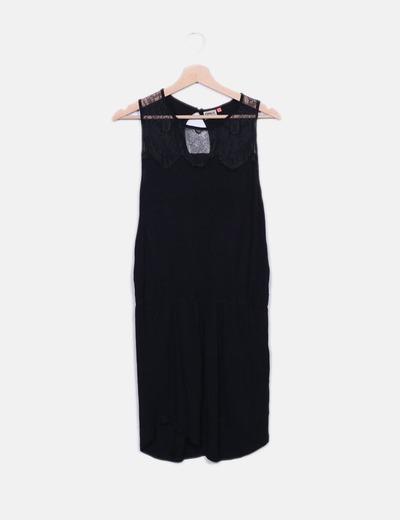 Vestido negro con encaje ONLY
