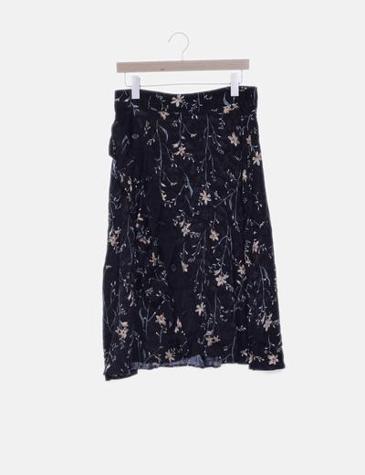 Falda negra print floral
