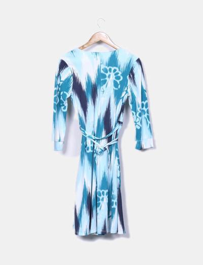 Vestido estampado azul y blanco