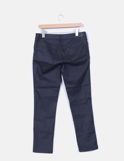 Pantalon negro elastico efecto encerado