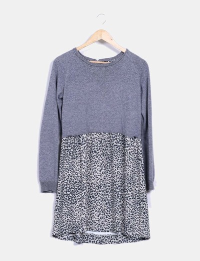 Vestido gris combinado animal print Pepe Jeans