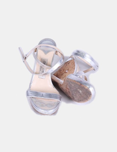 Sandalias cunas caucho tiras plateadas