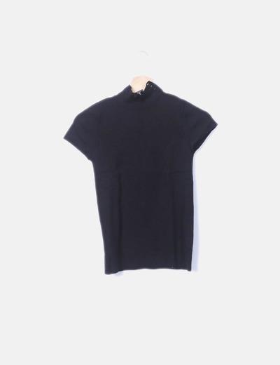 Camiseta tricot negro manga corta