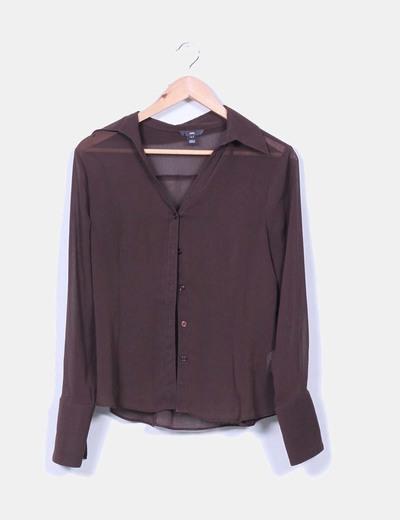 Blusa marrón semitrasnparente H&M