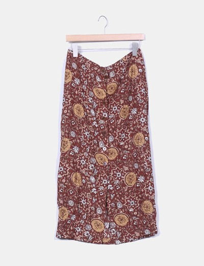 Falda midi marron estampado