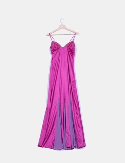 Maxi vestido combinado en tonos malvas
