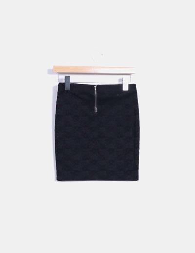 Mini falda negra elastica texturizada