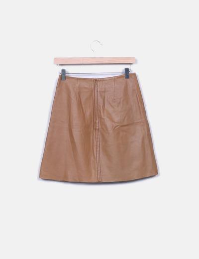 Falda cuero marron