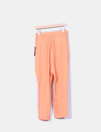 Pantalon baggy naranja satinado