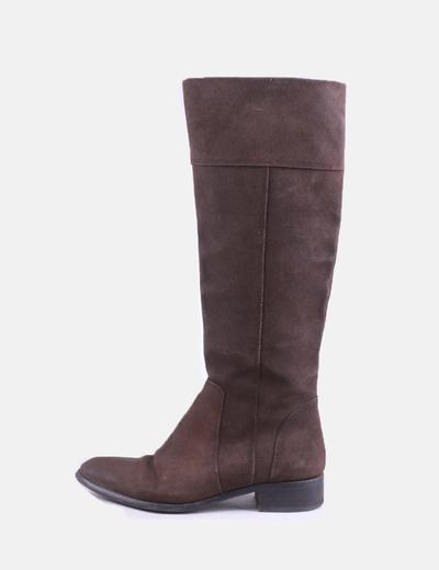 Camurça marrom de alta bota Zara