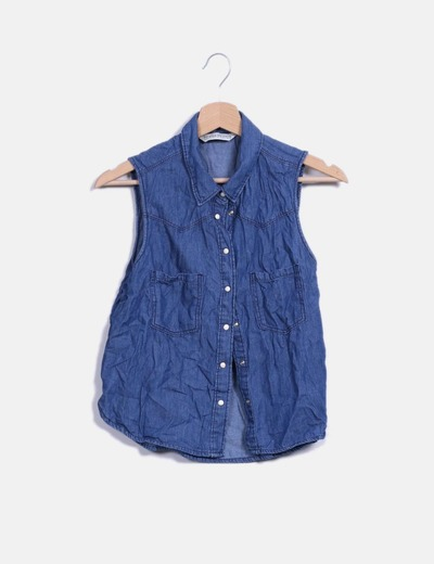 Camisa denim sin manga Bershka
