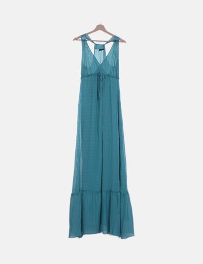 Vestido azul moteado