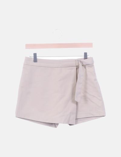 Falda pantalón beige