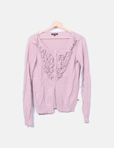 Chaqueta tricot rosa detalles plisados