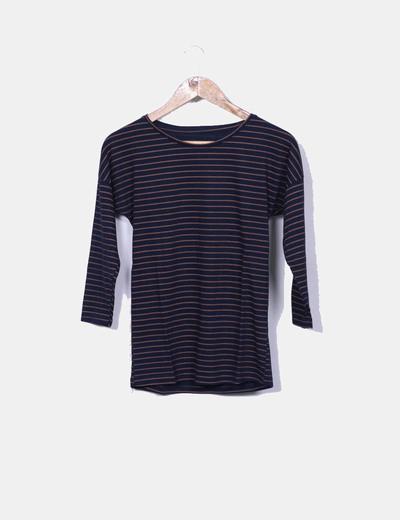 Camiseta azul y marron manga francesa NoName