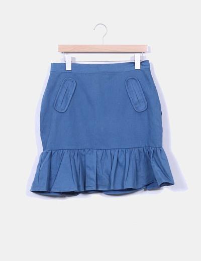 Falda midi azul petróleo Pepaloves