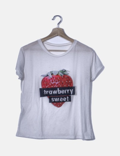 Camiseta blanca pint fresa con perlas