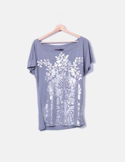 Camiseta larga gris print floral plateado Cortefiel