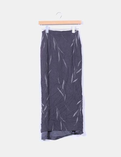 Falda  gris estampado con fooro Cortefiel