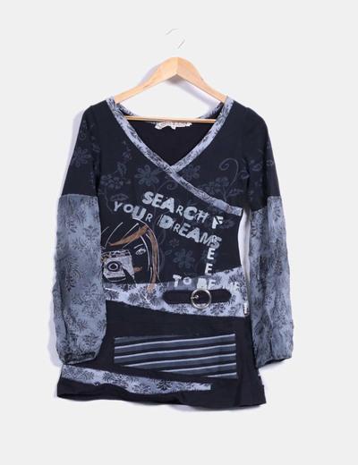 Camiseta estampado variado estilo hippie  Savage Culture