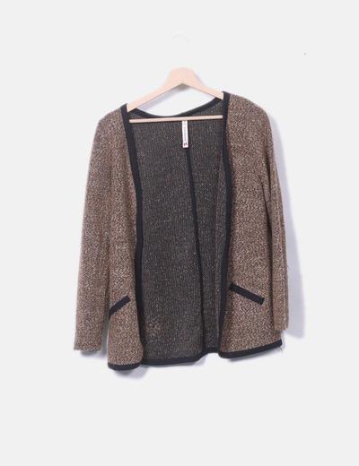 Cárdigan tricot marrón jaspeado