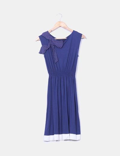 Vestido azul marino cinturilla elástica con lazo Suiteblanco