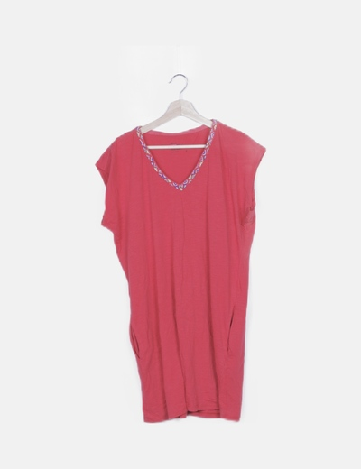 Vestido rojo fluido detalle strass