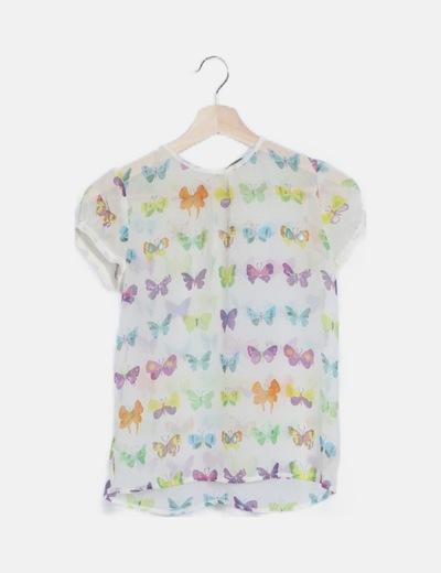Blusa semitransparente print mariposas