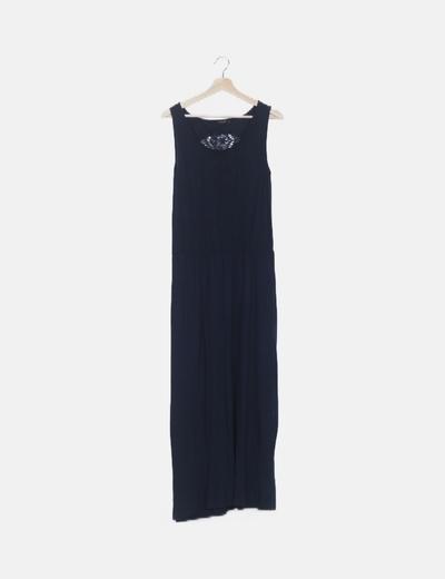 Vestido maxi azul marino espalda crochet