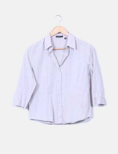 Camisa gris manga francesa Massimo Dutti