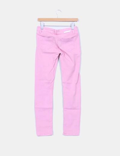 Jeans denim rosa pitillo