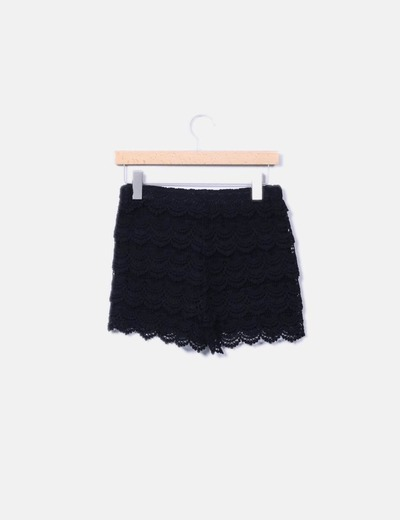 Short en crochet negro
