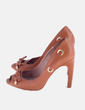 Zapato de tacón marrón lazo Uterqüe