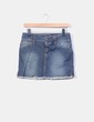 Mini falda denim con flecos Zara