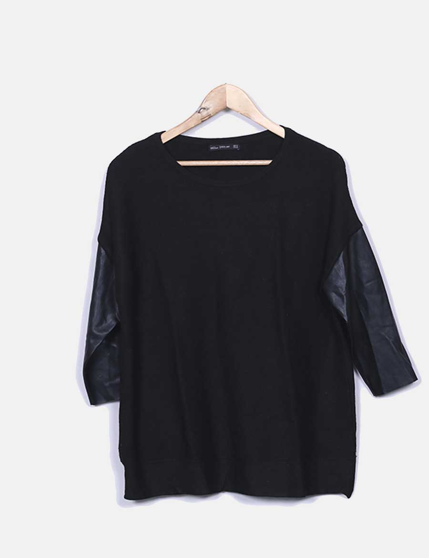 online store fa935 c93fc Jersey negro canalé polipiel mujer Tops mangas online Zara SOqwSR ...