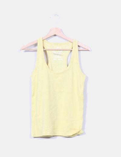Top amarillo rayas plateadas Pull&Bear