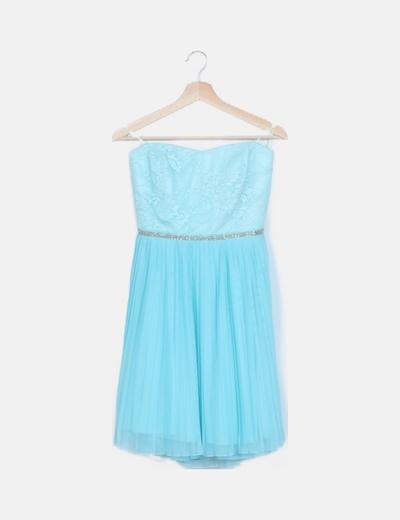Vestido mini combinado palabra de honor