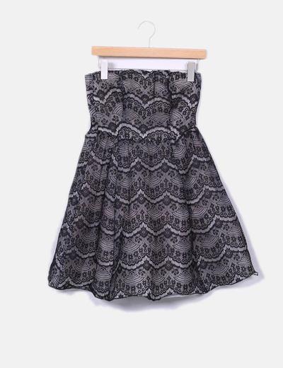 Vestido blanco y negro a crochet