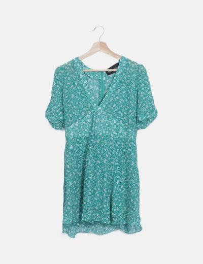Vestido mini verde floral