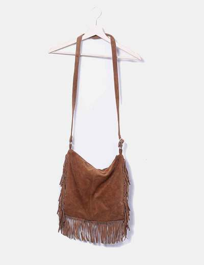 Brown suede bag with fringes Amichi