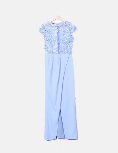 Maxi vestido azul combinado lentejuelas