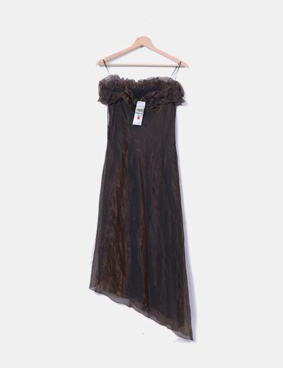 Vestido marron irisado