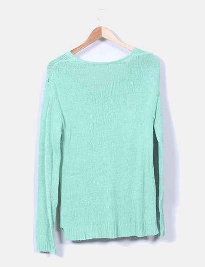 Jersey de punto verde escote redondo