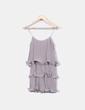 Vestido gris volantes plisado H&M