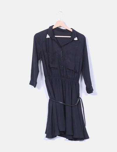 Vestido negro efecto camisa NoName